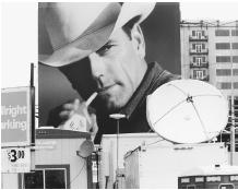 The Marlboro man, a controversial tobacco icon, on a billboard in downtown Denver, June 20, 1997. (Archive Photos, Inc.)