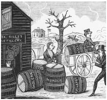 A woodcut dating to the early phase of the temperance movement illustrates the physical and moral afflictions attributed to alcohol. Circa 1820. (©Bettmann/CORBIS)