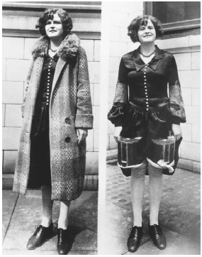 During the Prohibition era in the United States, people found various ways to conceal and transport alcohol. The image on the left shows how a woman of the era might dress to go out in public. The image on the right shows that she is actually h