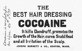 From the 1860s through the early 1900s, cocaine was thought to be a cure-all. The drug was used in various products, including elixirs and hair tonics, before the dangers of the drug were known. This hair product advertisement appeared in 1886.