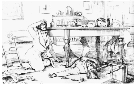 Physician James Young Simpson (18111870) and two of his colleagues experience the effects of chloroform, which knocks them out.