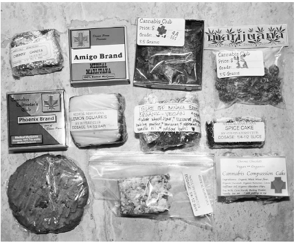 A variety of medical marijuana products were offered for sale to those with prescriptions from doctors. Here, medical marijuana is shown in various formats, including cakes and cookies. Jeff Albertson/Corbis.