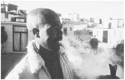 Methaqualone abuse is no longer a major problem in the United States. However, it has become the most popular illegal synthetic drug in South Africa. As depicted here, a man smokes Mandrax from a broken beer bottle near Cape Town, South Africa.