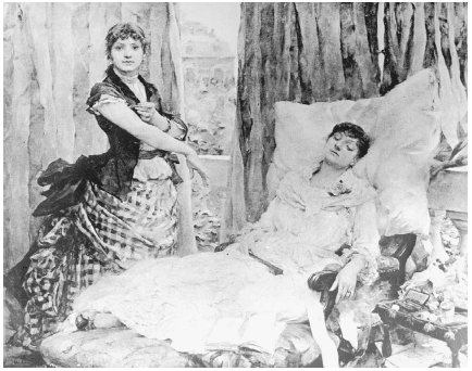 Two morphine addicts from the 1880s are depicted here. The woman on the right is already experiencing the effects of the drug while the woman on the left is giving herself a shot of the painkiller. Photo by Three Lions/Getty Images.
