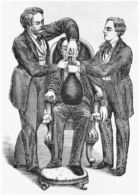 Over the years, nitrous oxide has been used in various ways. As depicted in this illustration from 1863, the gas was used as an anesthetic when preparing witnesses for trial in Great Britain. Here, one man administers the mixture from a bag whi