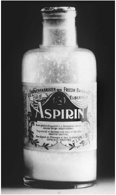 Acetylsalicylic acid, the active ingredient in aspirin, was discovered by a Bayer researcher in 1897. The finding led to the production of Bayer aspirin in 1899, first as a powder (shown here) and then later in pill and capsule form. AP/Wide Wo