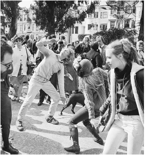 As shown here, hippies gathered, danced, and discussed politics in the Haight-Ashbury district of San Francisco during the 1960s. The first reports of illicit use of PCP occurred in this area in 1967. Bettmann/Corbis.