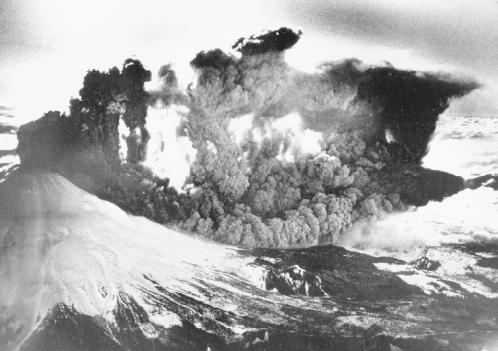 Mount St. Helens erupted explosively because its magma is andesitic, with increased amounts of trapped gas. AP/Wide World. Reproduced by permission.