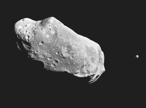 Asteroid 243 Ida and its moon, photograph. Corbis Corporation. Reproduced by permission.
