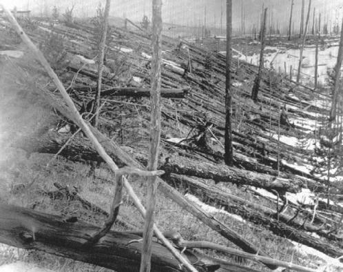 In 1908 over Tunguska, Russia, an object that is believed to have been either a comet or a stony meteorite exploded with the force of a nuclear bomb. If it had happened over an urban area instead of over Siberian wilderness, the loss of life would have been immense. AP/Wide World. Reproduced by permission.