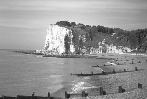The white cliffs of Dover, composed almost entirely of chalk, are a familiar landmark of the British Isles. JLM Visuals. Reproduced by permission.