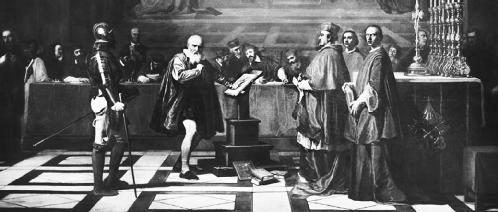 Galileo, pleading at his trial before the Inquisition. © Corbis-Bettmann. Reproduced by permission.