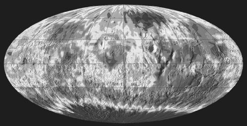 Map of Mars made by NASA's 2001 Mars Odyssey spacecraft. AP/Wide World. Reproduced by permission.