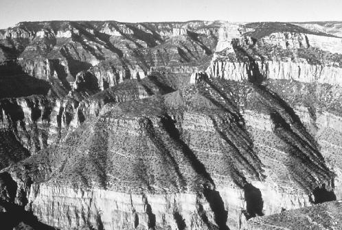 The Grand Canyon in Arizona has exposed millions of years of strata, allowing geologists a glimpse back in Earth's history. National Park Service.