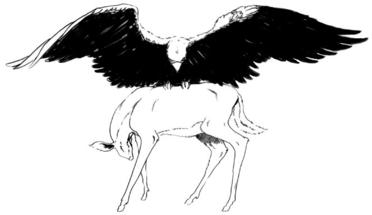 Zeus sends an omen: an eagle with a fawn in its talons.