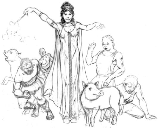Circe drugged the men's wine and touched them with her wand, transforming them into pigs.