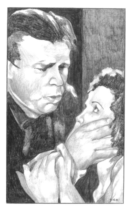 Lennie closes his hand over Curley's wife.