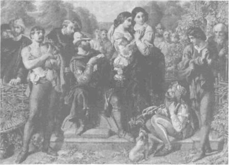 Charles, Duke, Frederick, Celia, Rosalind, Touchstone, Orlando, and others by Daniel Maclise