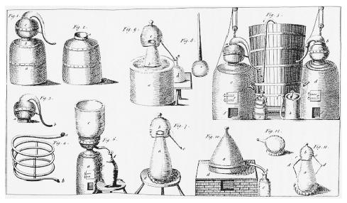 Diagrams of alcohol-distilling equipment from Ambrose Cooper's Complete Distiller (London, 1760). Copper engraving. ROUGHWOOD COLLECTION.