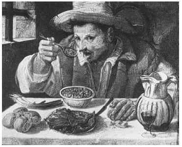 The Bean Man shows an Italian peasant enjoying a bowl of beans. Painting in the collection of the Galleria Colonna, Via della Pilotta, Rome. REPRODUCED BY PERMISSION.