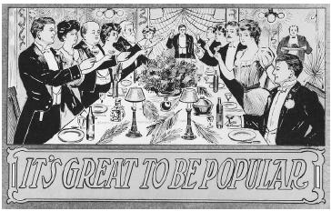 An American postcard from circa 1900 taking a humorous aim at upper-class table manners. ROUGHWOOD COLLECTION.