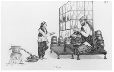 Flowers also figure as a flavoring in cookery, from violet syrup to rosewater, which was popular in both Byzantine and Arabic cookery. Rosewater still plays an important role in the cookery of many Eastern Mediterranean countries. In this 1838 engraving, a vendor is shown selling rosewater in Istanbul. His still is on the left. ROUGHWOOD COLLECTION.