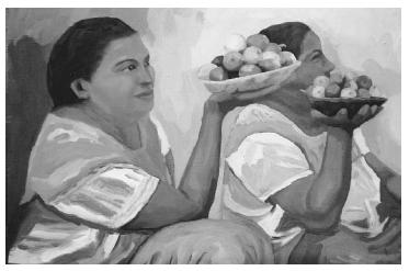 Lemon vendors in Oaxaca, Mexico. Oil painting by Mexican artist Rocio Levito, 2002. PHOTO COURTESY OF THE ARTIST.