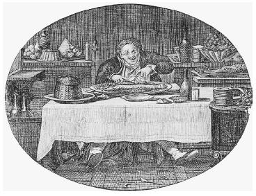 "Copper engraving called ""Au Gourmand,"" used as a letterhead on an 1816 bill of Paris traiteur Corcellet at the Palais Royal. This bill was charged to Anthony Morris of Philadelphia, who was visiting Paris at the time. ROUGHWOOD COLLECTION."