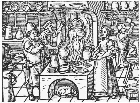 The German Renaissance kitchen as depicted in Balthasar Staindl's Ein künstlich vnd nützlichs Kochbuch [An Artful and Useful Cookbook], first printed at Augsburg in 1544. COURTESY OF HANS WEISS. ROUGHWOOD COLLECTION.
