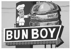 The American hamburger has become a food culture of its own. This humorous sign for the Bun Boy Restaurant was photographed in southern Indiana. © PHILIP GOULD/CORBIS.