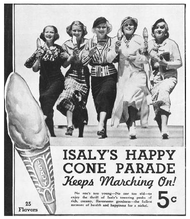 "Advertisement from circa 1935 showing the ""Happy Cone,"" which later became known as the Skyscraper. Its tall, phallic shape was made possible by a specially patented scoop. COURTESY OF JUNE V. ISALY AND BRIAN BUTKO."