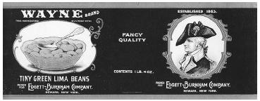 Label (circa 1910) for a can of fancy lima beans showing the food product on one side and the company trademark on the other. While these old labels are attractive graphically, food labeling has evolved considerably since that time, with a full listing of ingredients, nutritional analysis, bar codes for scanning the price, and even country of origin. ROUGHWOOD COLLECTION.