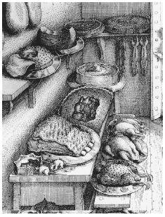 The interior of a larder as depicted in a 1668 illustration by Wenceslaus Hollar for an edition of Aesop's Fables. Note the storage of pies and roasts for reserving at a later time. Rats in the foreground are enjoying a meal of their own. COURTESY OF TOM JAINE. ROUGHWOOD COLLECTION.