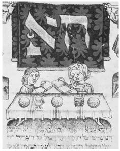 Manuscript illumination from the fifteenth century showing a couple celebrating the Passover seder. © ARCHIVO ICONOGRAFICO, S. A./CORBIS.