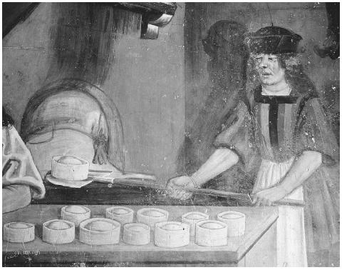A late medieval baker prepares raised pies for the oven. The pies are filled with meats or fruit, or both. Fifteenth-century Italian fresco in the Castile di Issogne (Aosta Valley) in Northern Italy. © ARCHIVO ICONOGRAFICO, S.A./CORBIS.