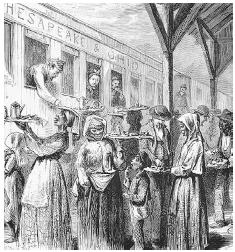 American railroad fare is not much better today than in the nineteenth century. Travelers on the Chesapeake & Ohio line were obliged to buy their bad coffee, railroad cakes, hardtack, and Sally Lunns from vendors who congregated at stations along the way. FROM JOHN BACHELDER'S POPULAR RESORTS (BOSTON, 1875). ROUGHWOOD COLLECTION.