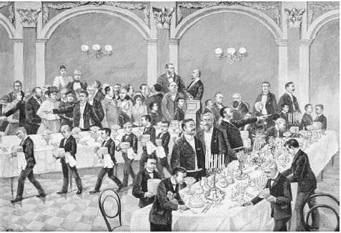 Final exam for a waiters' school in Berlin, from a wood engraving circa 1880. The parents of the young men watch as they are clocked to set a banquet table in five minutes. ROUGHWOOD COLLECTION.