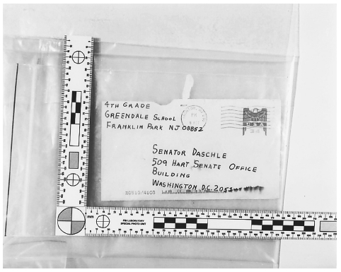 Envelope in which an anthrax-laced letter was sent to Senate Majority Leader Tom Daschle, in Washington D.C., October 23, 2001. REUTERS/CORBIS.
