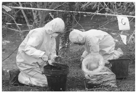 Police crime scene investigators look for clues and evidence at the burial site of a murder victim near the River Kent in Kendal, Cumbria, England, in 2004. ASHLEY COOPER/CORBIS