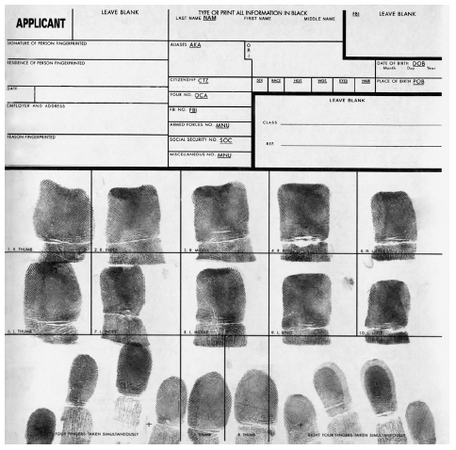 Fingerprints on a criminal record. RANDY FARIS/CORBIS