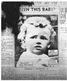 March 1932 newspaper clipping shows Charles A. Lindbergh, III, son of aviator Charles A. Lindbergh, Jr., who was kidnapped from his Hopewell, New Jersey, home on March 1, 1932. AP/WIDE WORLD PHOTOS. REPRODUCED BY PERMISSION.