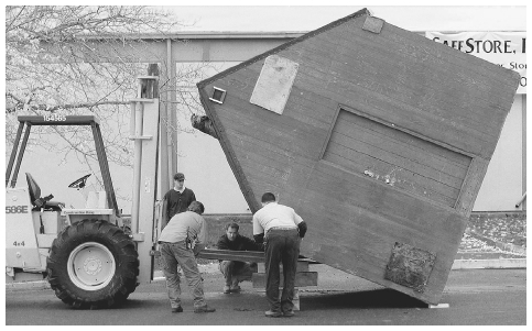 The building belonging to Theodore Kaczynski (also known as the Unabomber) is delivered to the site of his trial. Forensic investigators discovered evidence of bombmaking materials inside the hut. CORBIS SYGMA