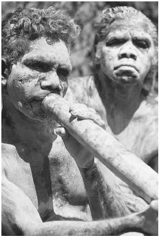 The number of violent deaths of Aborigines at the hands of white colonizers is much contested and the subject of intense political debate. The figure is perhaps as high as 20,000. In this photo from 1976, an Aboriginal man, wearing traditional