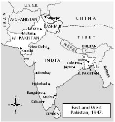 Map of India and to its east, Bangladesh/East Pakistan, site of the well-documented Hindu genocide. [EASTWORD PUBLICATIONS DEVELOPMENT/GALE GROUP]