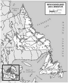 Map of present-day Newfoundland and Labrador, where the Beothuk flourished prior to the arrival of European traders in the seventeenth century. [EASTWARD PUBLICATIONS DEVELOPMENT/GALE GROUP]