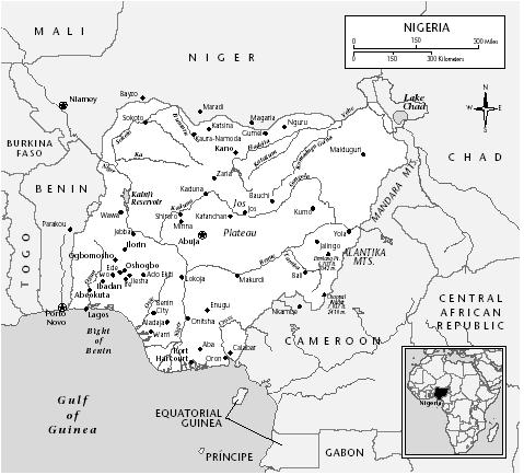 Map of Nigeria, including the East-Central, South-Eastern, and Rivers states that comprised the former Biafra. [MARYLAND CARTOGRAPHICS]