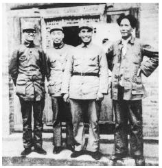From left to right, Chinese Communist Party leaders Qin Bangxian, Zhou Enlai, Zhu De, and Mao Zedong, in Shaanxi Province, after the Red Armys retreat north in the Long March (19341935). The Long Marchin which some 5,000 miles were traversedlat
