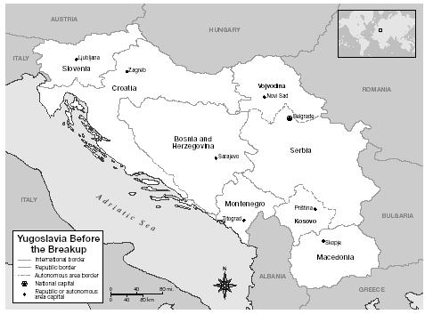 Yugoslavia before the break-up. [MAP BY XNR PRODUCTIONS. THE GALE GROUP.]