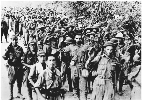 The Japanese force-marched 70,000 American and Filipino prisoners of war from the Bataan peninsula to transport trains fifty-five miles inland. The prisoners were often bound, beaten, or killed by their captors; some were bayoneted when they fe