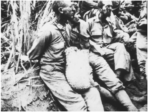These American prisoners of war surrendered to the Japanese Imperial Army and were forced to march for six days without food or water in what is known as the Bataan Death March.